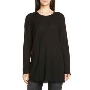 Eileen Fisher Black L Round Neck Tunic Top Tencel